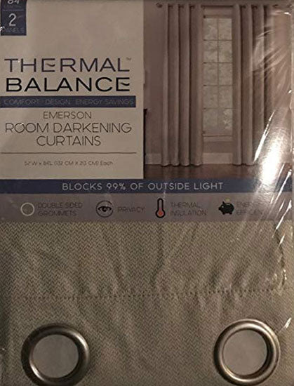 Thermal Balance Room Darkening Curtains Blocks 99% of outside light Ivory2 84 inch panels BROWN