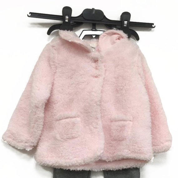Carter's Girl's 2Piece Set, Pink Furry Jacket, 18 Month