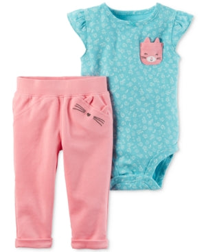 Carter's 2pieces buddy turquoise, pants pink