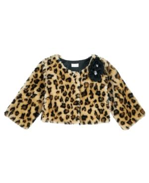 Sweet Heart Rose Animal-Print Faux-Fur Shrug, Little Girls (4-6X)