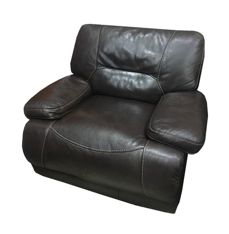 Brown leather couch, 1-seat