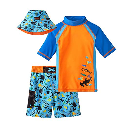 UV SKINZ UPF 50+ Boys 3-Piece Swim Set Orange Sharks size 3T