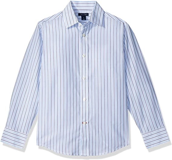 Tommy Hilfiger Boys' Double Twill Stripe Shirt, Medium Blue
