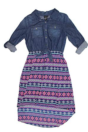 Paper Doll Big Girl's Roll Sleeve High Low Print/Denim Dress