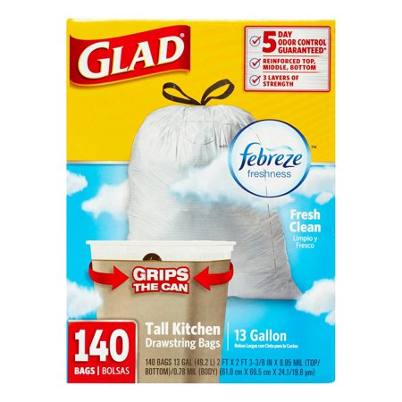 Glad Febreze freshness Tall Kitchen Drawstring Bags, 13 Gallon, White, 140 Ct