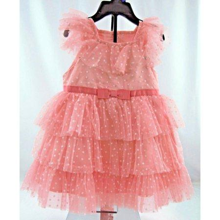 Jona Michelle Girls Dress - Coral Dot