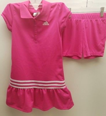 Adidas Girls  Ruffled Polo Dress w/Shorts Set Hot Pink White Trim