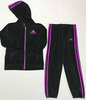 Adidas Girls 2 Pc Velour Hoodie Jogger And Pant Set Tracksuit Black Purple