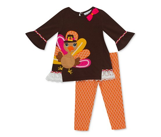 RARE EDITIONS BABY GIRLS 2-PC. TURKEY TUNIC & LEGGINGS SET, BROWN/ORANGE