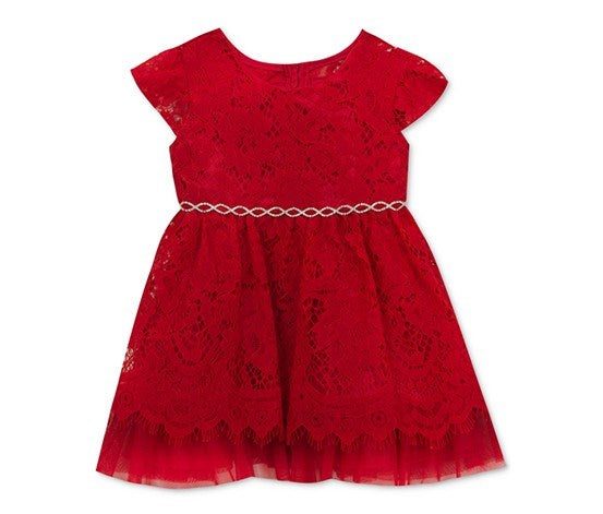Rare Editions Embellished Lace Dress, Red