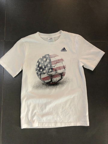 Adidas white shirt soccer ball USA