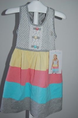 Jona Michelle Girls Sleeveless Casual Summer Dress Grey/Yellow/Pink size 10