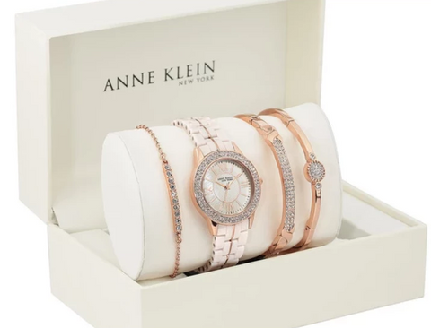 Anne Klein New York Swarovski Crystal Accented Ladies Rose Gold Tone Watch and Bracelet Set