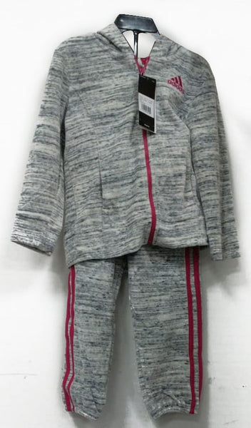 Adidas Girls 2 Pc Velour Hoodie Jogger And Pant Set Tracksuit Grey