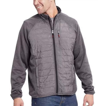 Orvis Men's Mixed Media Full Zipper Quilted Jacket - (Charcoal, Large)