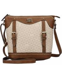 B.O.C. Travis Logo Crossbody - Stone/Saddle
