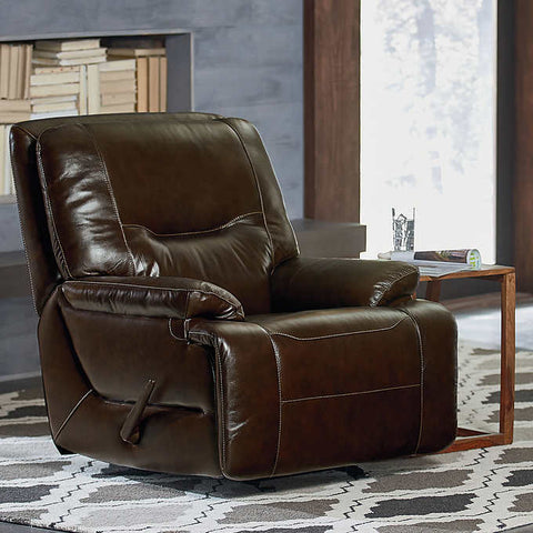 Huntington Top Grain Leather Glider Recliner