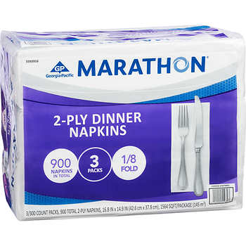 Marathon Dinner Paper Napkins, 1/8 Fold, 2 ply, 3packs