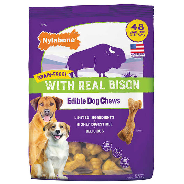 Nylabone 48-count Grain-Free with Real Bison Edible Dog Chews