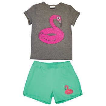 Super Soft by Butter Girls Flamingo short 10/12 y