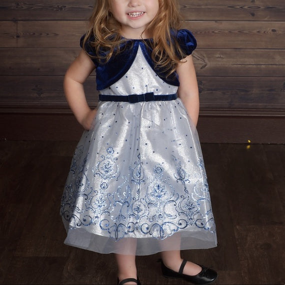 Jona Michelle Infant/Toddler Holiday Dress Navy/Silver