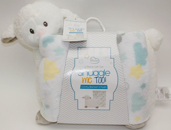 Little Miracles - Snuggle Me Too ! Baby Comfy Blanket and Plush 2 Piece White
