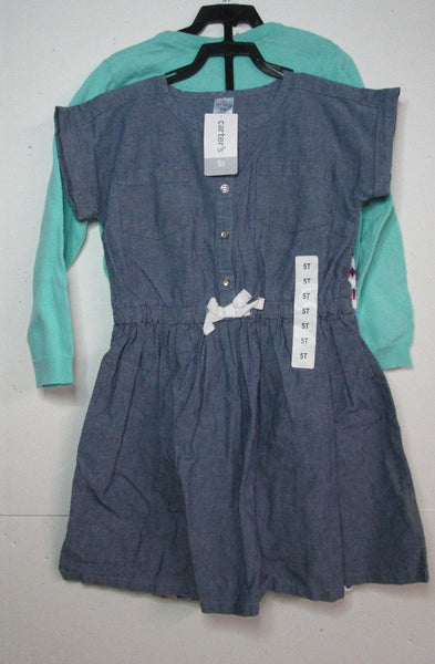 Carter's DENIM DRESS W/ MINT SWEATER WHITE-BL.-PINK-MINT LEGGINGS