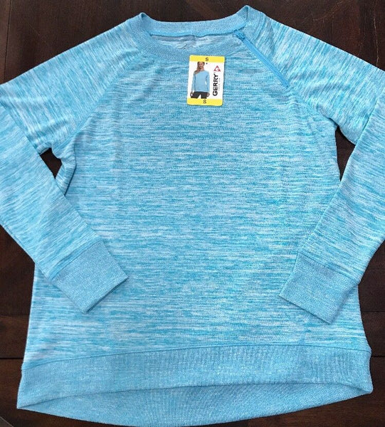 Gerry Crew Neck Pullover Top with Side Neck Zipper Turquoise
