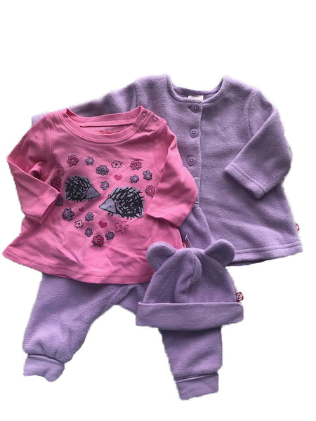 Zutano Baby Girl's Hedgehog Print  Clothing Set Pink/purple 12months
