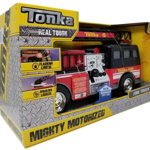 TONKA Mighty MOTORIZED FIRE TRUCK Engine w Flashing LIGHTS, Realistic SOUNDS & Working LADDER