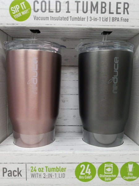 Reduce COLD-1 Vacuum Insulated Thermal Tumbler with Two Extra Straws, 30oz - Stainless Steel (2 Pack)