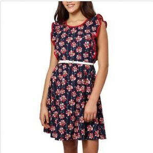 Paper Doll Girls Dress Navy Blue Red Multi-Color Floral Sleeveless, Size 12