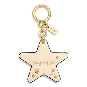 COACH Selena Gomez Love Yourself First Leather Star Key Chain Ring Bag Charm