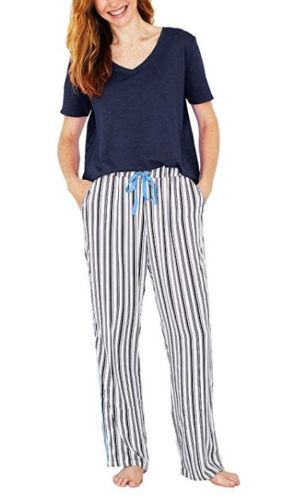 Splendid-Womens-V-Neck-Pajama-2-Piece-Set-Navy-Striped