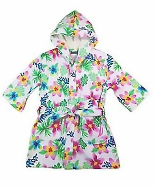 Nautica Pink Flamingo Hooded Cover up Size L Youth 10-12 Cotton Beach Bath Robe