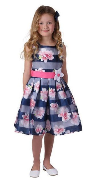 JONA MICHELLE Navy Stripe Flower Girl Wedding Sunday Dress