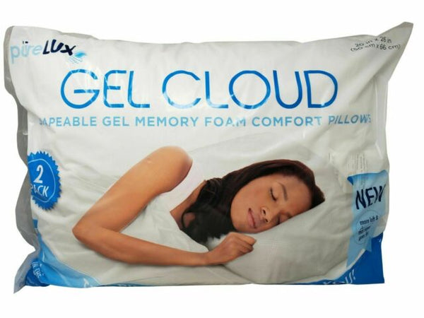 "Purelux Gel Cloud Memory Foam 2 Pillows JUMBO 20""x26"""
