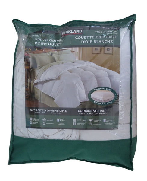 Kirkland Signature White Goose 370TC Down Comforter Pillow Duvet – Year Round Warmth (King)