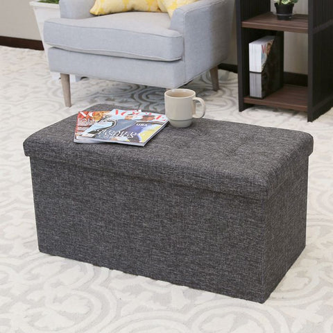 FOLDABLE STORAGE BENCH OTTOMAN, CHARCOAL GRAY