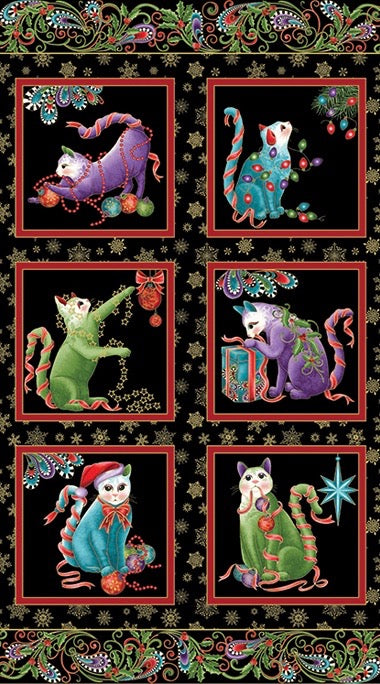 "Cat-I-Tude Christmas Holy Panel 24"" x 43"""