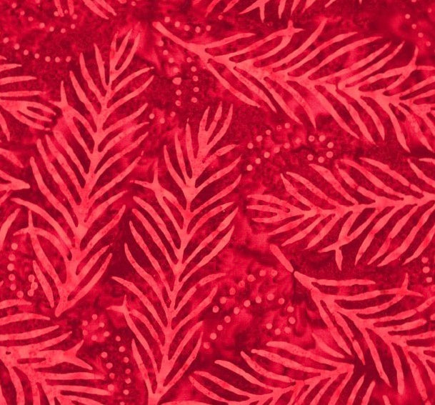 "Delicate Fronds Cotton - Red 108"" Wide Back"