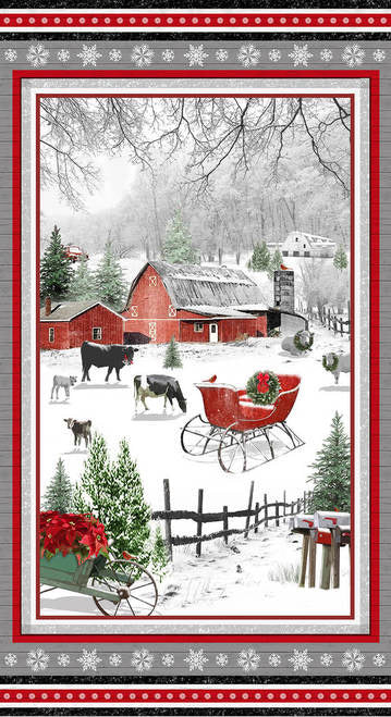 "Holiday Homestead 24"" Farm Scene Panel Red/Gray 1611P-89 Henry Glass & Co., Inc"