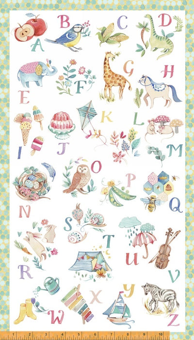 My Imagination Multi Alphabet Panel  # 51160P-X by Clare Therese Gray for Windham Fabrics