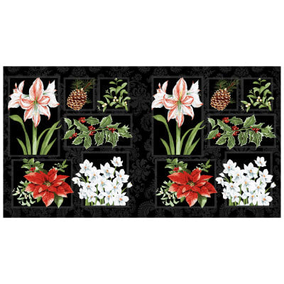 "Holidays Remembered Floral 22"" Panel by Barb Tourtillotte for Clothworks"