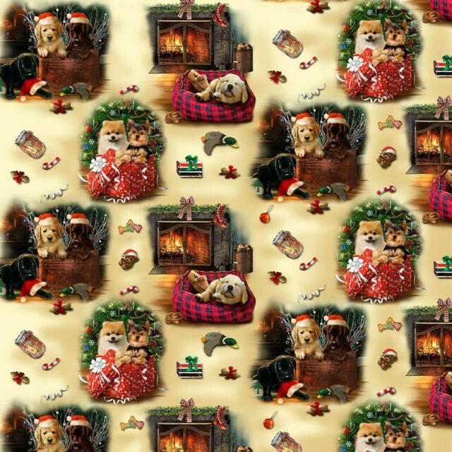 Fireside Pups Christmas Puppy Scenic 7193 44