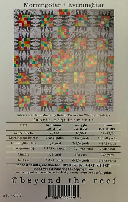 "MorningStar + eveningStar ""sparkle and shine"" Quilt Pattern"