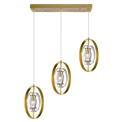 CWI Lighting 3 Light Island/Pool Table Chandelier with Brass Finish | 1224P22-3-625