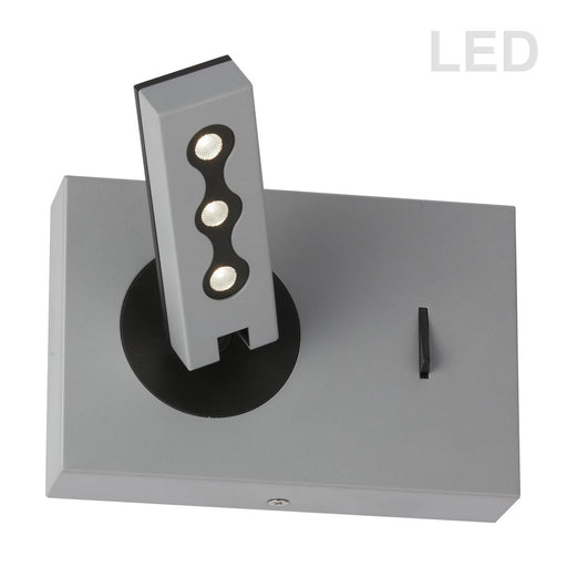 Dainolite Wall Sconce w/ Reading Lamp, Silver Finish | 479LEDW-SV