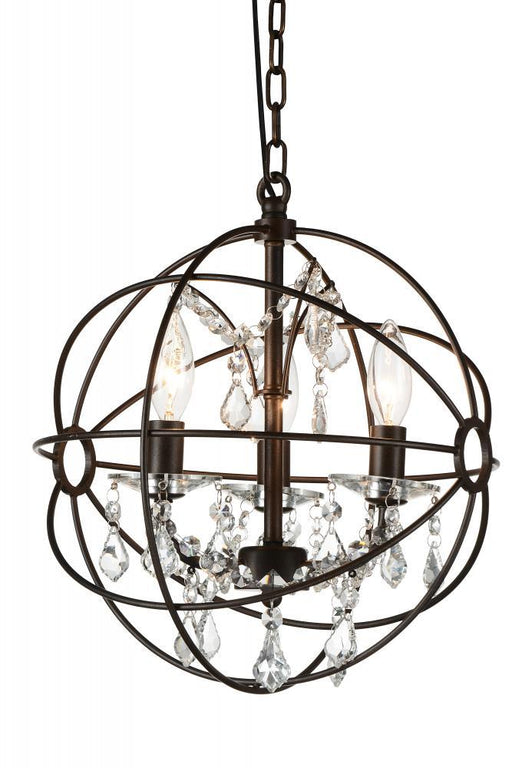 CWI Lighting 3 Light Up Mini Chandelier with Brown finish | 5465P13-DB-3