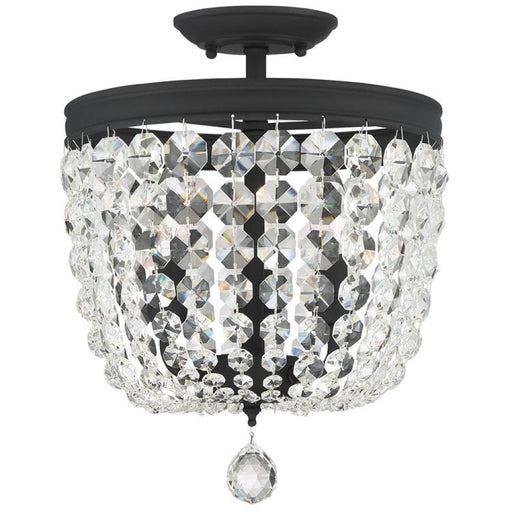 Crystorama Archer 3 Light Crystal Black Forged Ceiling Mount | 783-BF-CL-MWP